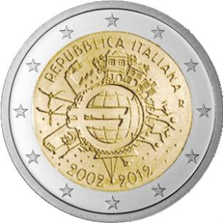 2 euro 2012 10 jaar euro unc itali de amsterdamse munt. Black Bedroom Furniture Sets. Home Design Ideas